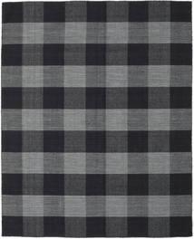 Check Kilim Teppich  190X240 Echter Moderner Handgewebter Dunkelgrau/Schwartz (Wolle, Indien)