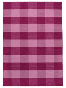 Check Kilim Teppich  160X230 Echter Moderner Handgewebter Hellrosa/Rosa (Wolle, Indien)