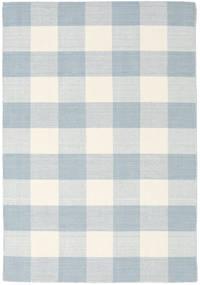 Check Kilim Teppich  140X200 Echter Moderner Handgewebter Weiß/Creme/Beige/Hellblau (Wolle, Indien)