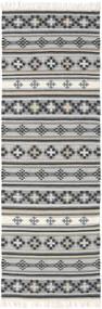 Kelim Cizre Teppich  80X350 Echter Moderner Handgewebter Läufer Hellgrau/Dunkelgrau (Wolle, Indien)