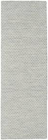 Kelim Honey Comb - Grau Teppich  80X240 Echter Moderner Handgewebter Läufer Hellgrau/Beige (Wolle, Indien)