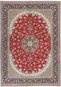 Isfahan Seidenkette Teppich  300X417 Echter Orientalischer Handgeknüpfter Hellgrau/Dunkelrot Großer (Wolle/Seide, Persien/Iran)