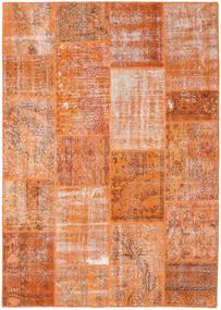 Patchwork Teppich  161X227 Echter Moderner Handgeknüpfter Hellbraun/Orange (Wolle, Türkei)