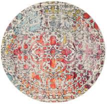 Kaleidoscope - Multi Teppich  Ø 200 Moderner Rund Hellgrau/Dunkelbraun ( Türkei)
