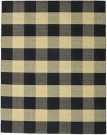 Check Kilim - Schwarz/Gold Teppich  240X300 Echter Moderner Handgewebter Schwartz/Dunkelgrau/Hellgrau (Wolle, Indien)