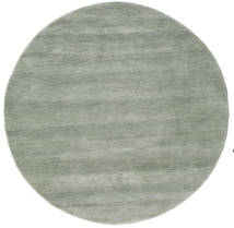 Handloom - Soft Teal Teppich  Ø 150 Moderner Rund Hellgrau/Hell Grün (Wolle, Indien)