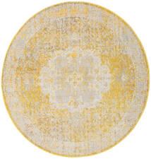 Nadia - Gelb Teppich  Ø 200 Moderner Rund Dunkel Beige/Beige/Weiß/Creme ( Türkei)