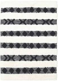 Shaula - Schwarz/Weiß Teppich  140X200 Echter Moderner Handgewebter Dunkelgrau/Beige/Weiß/Creme (Wolle, Indien)