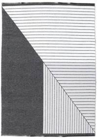 Outdoor-Teppich Diagonal - Schwarz/Grau Teppich  150X210 Moderner Dunkelgrau/Beige/Weiß/Creme ( Schweden)