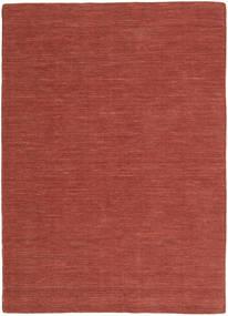 Kelim Loom - Rost Teppich  140X200 Echter Moderner Handgewebter Dunkelrot (Wolle, Indien)