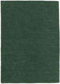 Kelim Loom - Waldgrün Teppich  160X230 Echter Moderner Handgewebter Dunkelgrün (Wolle, Indien)