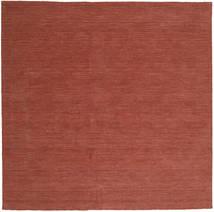 Kelim Loom - Rost Teppich  250X250 Echter Moderner Handgewebter Quadratisch Dunkelrot Großer (Wolle, Indien)