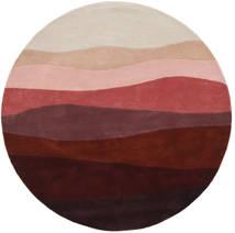 Feeling Handtufted - Wine Teppich  Ø 200 Moderner Rund Dunkelrot/Hellgrau (Wolle, Indien)