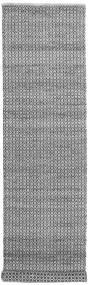 Alva - Grau/Schwarz Teppich  80X350 Echter Moderner Handgewebter Läufer Hellgrau/Dunkelbraun/Dunkelgrau (Wolle, Indien)