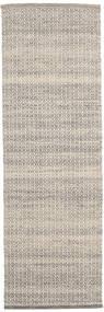 Alva - Braun/Weiß Teppich  80X250 Echter Moderner Handgewebter Läufer Hellgrau/Beige (Wolle, Indien)