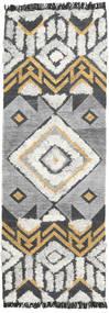 Decco Teppich  80X250 Echter Moderner Handgewebter Läufer Hellgrau/Dunkelgrau (Wolle, Indien)