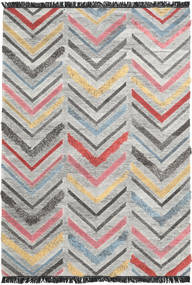 Zigzag Teppich  200X300 Echter Moderner Handgewebter Hellgrau/Dunkelgrau (Wolle, Indien)