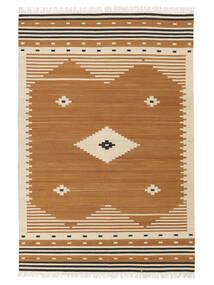 Tribal - Senfgelb Teppich  140X200 Echter Moderner Handgewebter Braun/Hellbraun (Wolle, Indien)