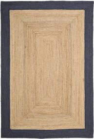 Outdoor-Teppich Frida Frame - Natural/Navy Teppich  200X300 Echter Moderner Handgewebter Dunkel Beige/Dunkelgrau (Jute-Teppich Indien)