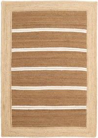 Outdoor-Teppich Frida Stripe - Braun Teppich  140X200 Echter Moderner Handgewebter Beige/Hellbraun (Jute-Teppich Indien)