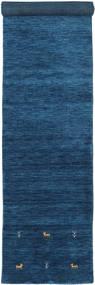 Gabbeh Loom Two Lines - Dunkelblau Teppich 80X450 Moderner Läufer Dunkelblau/Blau (Wolle, Indien)