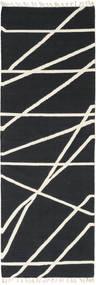 Cross Lines - Schwarz/Naturweiß Teppich  80X250 Echter Moderner Handgewebter Läufer Dunkelgrau/Beige (Wolle, Indien)
