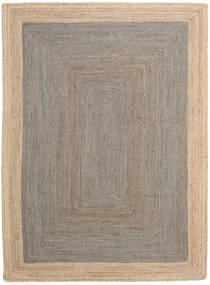 Outdoor-Teppich Frida Frame - Grau/Natural Teppich  140X200 Echter Moderner Handgewebter Hellgrau/Beige (Jute-Teppich Indien)