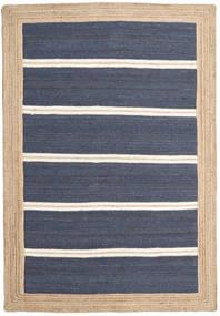 Outdoor-Teppich Frida Stripe - Blau Teppich 140X200 Echter Moderner Handgewebter Blau/Beige (Jute-Teppich Indien)