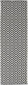 Torun - Schwarz/Neutral Teppich  80X300 Echter Moderner Handgewebter Läufer Schwartz/Hellgrau (Baumwolle, Indien)