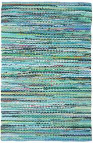 Ronja - Grün Mix Teppich  140X200 Echter Moderner Handgewebter Türkisblau/Hellblau (Baumwolle, Indien)