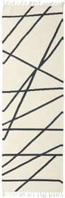 Cross Lines - Naturweiß/Schwarz Teppich  80X250 Echter Moderner Handgewebter Läufer Beige/Dunkelgrau (Wolle, Indien)