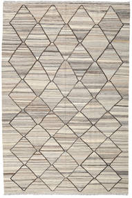 Kelim Ariana Teppich  199X303 Echter Moderner Handgewebter Hellgrau/Beige (Wolle, Afghanistan)