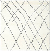 Shaggy Tangier - Weiß/Dunkelgrau Teppich  250X250 Moderner Quadratisch Beige/Weiß/Creme Großer ( Türkei)