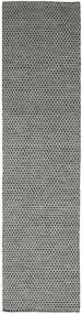 Kelim Honey Comb - Schwarz/Grau Teppich  80X440 Echter Moderner Handgewebter Läufer Dunkelgrau/Hellgrau (Wolle, Indien)