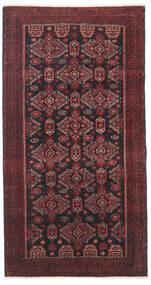 Belutsch Patina Teppich 95X177 Echter Orientalischer Handgeknüpfter Dunkelrot/Schwartz/Dunkelbraun (Wolle, Persien/Iran)