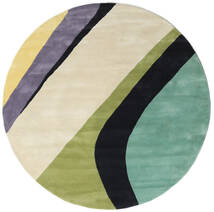 Dynamic Handtufted - Mint Teppich  Ø 200 Moderner Rund Dunkel Beige/Dunkelgrau/Lindgrün (Wolle, Indien)
