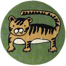 Cool Cat - Gelb Teppich  Ø 150 Moderner Rund Dunkelgrün/Olivgrün (Wolle, Indien)