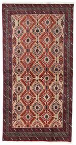 Belutsch Teppich  100X192 Echter Orientalischer Handgeknüpfter Dunkelrot/Dunkelbraun/Hellbraun (Wolle, Persien/Iran)