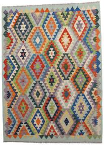 Kelim Afghan Old Style Teppich  146X198 Echter Orientalischer Handgewebter Hellgrau/Dunkelgrau (Wolle, Afghanistan)