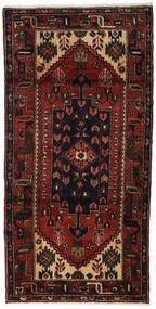 Hamadan Teppich  98X195 Echter Orientalischer Handgeknüpfter Dunkelbraun/Dunkelrot (Wolle, Persien/Iran)