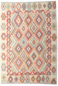 Kelim Afghan Old Style Teppich  202X287 Echter Orientalischer Handgewebter Dunkel Beige/Beige (Wolle, Afghanistan)