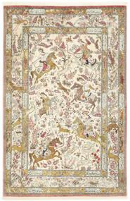 Ghom Seide Teppich  132X203 Echter Orientalischer Handgeknüpfter Beige/Dunkel Beige (Seide, Persien/Iran)
