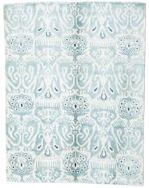 Sari Reine Seide Teppich 153X200 Echter Moderner Handgeknüpfter Weiß/Creme/Hellblau (Seide, Indien)