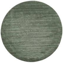 Handloom - Waldgrün Teppich Ø 250 Moderner Rund Dunkelgrün/Hell Grün Großer (Wolle, Indien)