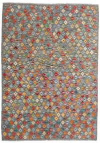 Kelim Afghan Old Style Teppich 131X183 Echter Orientalischer Handgewebter Dunkelgrau/Hellgrau (Wolle, Afghanistan)