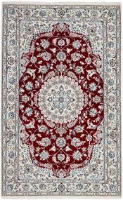 Nain 9La Teppich 128X205 Echter Orientalischer Handgeknüpfter Hellgrau/Dunkelrot (Wolle/Seide, Persien/Iran)
