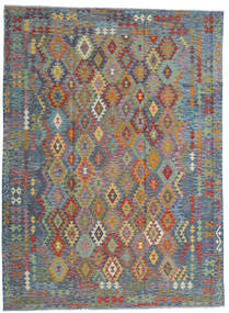 Kelim Afghan Old Style Teppich  256X351 Echter Orientalischer Handgewebter Hellgrau/Hellbraun Großer (Wolle, Afghanistan)