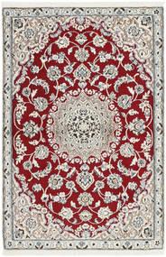 Nain 9La Teppich 87X135 Echter Orientalischer Handgeknüpfter Hellgrau/Dunkelrot (Wolle/Seide, Persien/Iran)