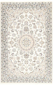 Nain 9La Teppich 116X181 Echter Orientalischer Handgeknüpfter Beige/Hellgrau/Weiß/Creme (Wolle/Seide, Persien/Iran)