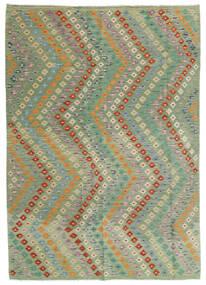 Kelim Afghan Old Style Teppich  176X248 Echter Orientalischer Handgewebter Hell Grün/Hellgrau (Wolle, Afghanistan)